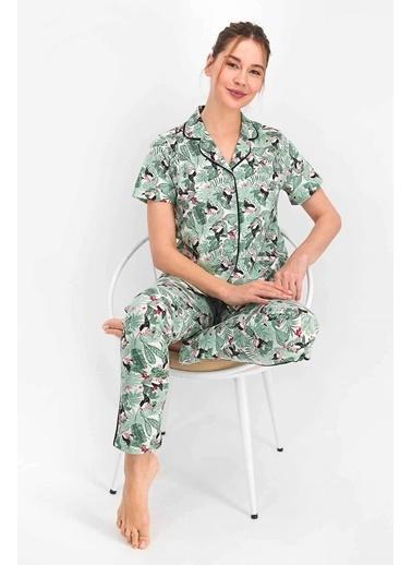 Arnetta Leaves And Birds Krem Kadın Gömlek Pijama Yeşil